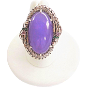 Vintage Lavender Jadeite Sterling Silver Ring Size 7.5