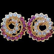 Vintage Ruby Diamond 14k Yellow Gold Earrings