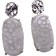 Chinese Carved White Jadeite Sterling Silver Earrings