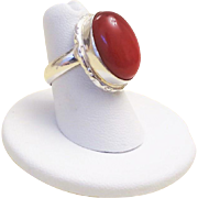 Vintage Ox Blood Red Coral Sterling Silver Ring Size 7.75