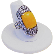 Vintage 1970's Chinese Yellow Jadeite Ring Size 8
