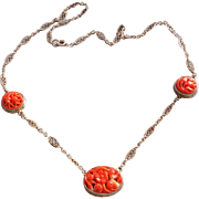 Chinese Export 1920's Art Deco Carved Coral Gold Vermeil Necklace