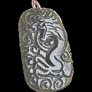 Vintage Chinese 10k Green Nephrite Jade Dragon Pendant