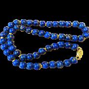 Vintage 14k Lapis Lazuli Necklace 14k Filigree Clasp