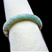 Vintage Chinese 14k Carved Dragons Translucent Green Jadeite Bracelet