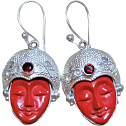 Carved Red Coral Goddess Face Sterling Silver Red Garnet Earrings