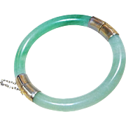 Vintage 1960's Chinese Export Translucent Apple Green Aventurine Bracelet