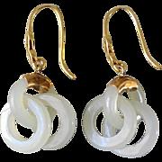Vintage Chinese Devil's Work Nephrite Jade Gold Vermeil Earrings