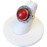 Vintage Ox Blood Red Coral Sterling Silver Ring Size 6.5