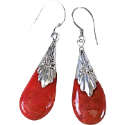 Art Deco 1920's Red Sponge Coral Repousse Sterling Earrings
