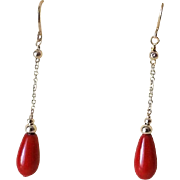 Vintage Mediterranean Ox Blood Red Coral 14k Yellow Gold Earrings