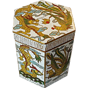 Vintage Chinese Export 20thC. Dragon Cloisonne Hexagonal Box