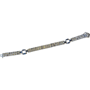 Vintage Art Deco Wachenheimer Diamonbar Buckle Sterling Rhinestone Bracelet