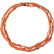 """Chinese Vintage3 Strand Salmon Coral Necklace 35"""" Length 32.5 gram"""