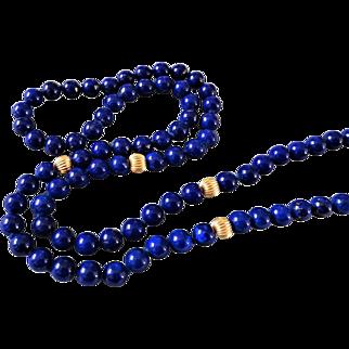"Vintage 14k Navy Blue Lapis Lazuli Necklace 29"" Length"