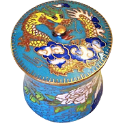 Vintage Chinese Export 20thC. Yellow Dragon Round Cloisonne Box With Knob
