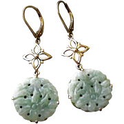 Vintage Chinese Export 1970's Carved Jadeite Sterling Silver Earrings