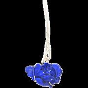 Vintage Carved Rose Lapis Lazuli Sterling Pendant