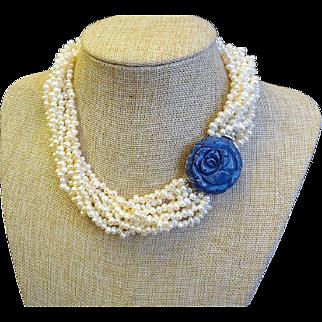 Vintage 1960's Multi-strand Cultured Pearl Torsade Necklace Carved Coral Clasp