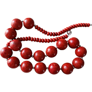 "Red Sponge Coral Necklace Sterling Silver Chain Sterling Clasp 30"" Long 240.5 grams"
