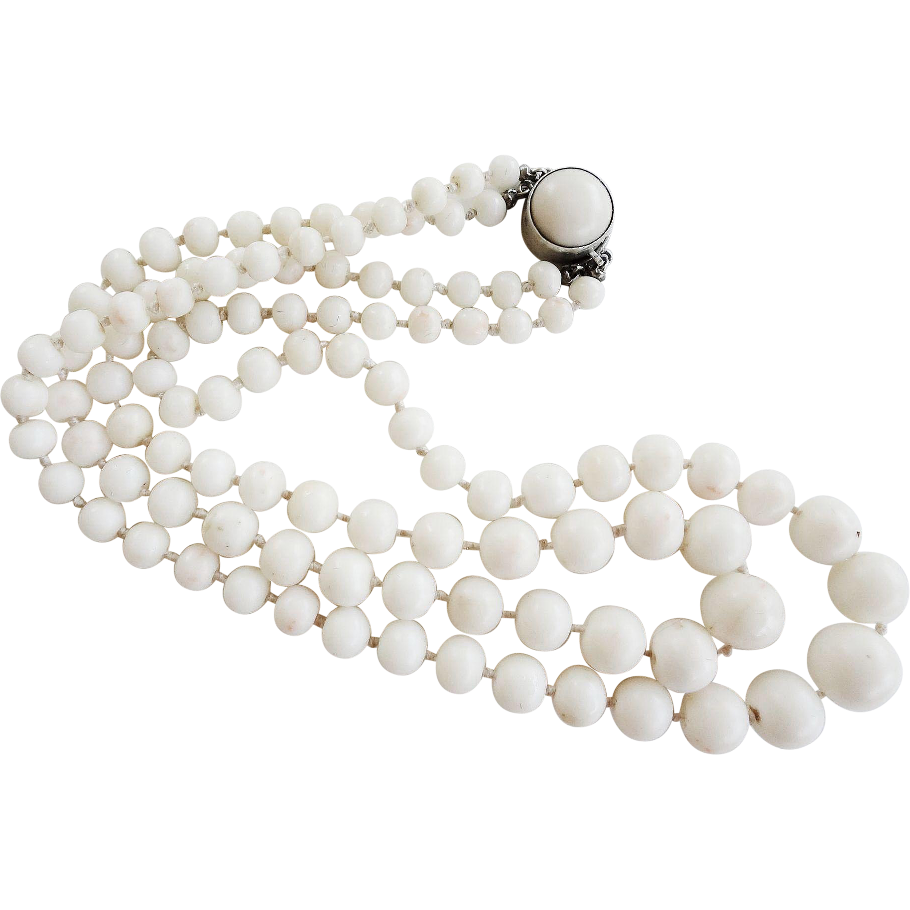 Vintage 1920 30 S Italian White Coral 2 Strand Necklace 12