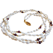 Vintage 2 Strand Freshwater Baroque Seed Pearls Amethyst Necklace