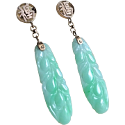 Chinese 1920's Art Deco 14k Hand Carved Apple Green Jadeite Earrings