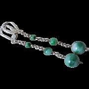 Vintage Chinese Apple Green Jade Earrings