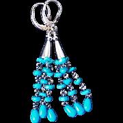 Vintage Genuine Sleeping Beauty Turquoise Earrings Sterling Leverbacks For Pierced Ears