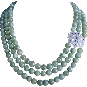 Translucent Green Jadeite 3 Strand Necklace Ornate Cubic Zirconia Sterling Silver Clasp