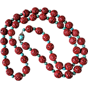 "Vintage Chinese Export 1970's Carved Dark Red Cinnabar Turquoise Necklace Filigree Sterling Turquoise Clasp 41"" Long"
