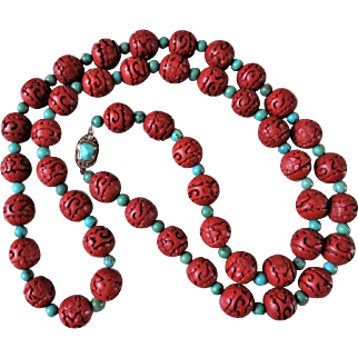 """Vintage Chinese Export 1970's Carved Dark Red Cinnabar Turquoise Necklace Filigree Sterling Turquoise Clasp 41"""" Long"""