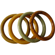 Vintage 4 Bakelite Round Pea Green, Butterscotch, Swamp And Butterscotch Marbled Bangles.