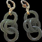 Vintage Chinese Interlocking Devil's Work Green Jade Earrings Gold Vermeil Lever Backs