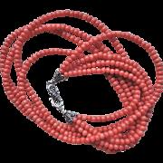Vintage 1920's Italian Mediterranean Reddish Salmon Coral Necklace