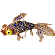 Antique 1900-1920 Chinese Export Sterling Gold Vermeil Cloisonne Enamel Articulated Goldfish