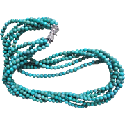 Vintage Chinese 5 Strand Turquoise Necklace Sterling Clasp