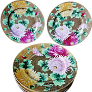 Set Of 6 Nippon Antique Heavy Gold Beaded Hand Painted Chrysanthemums Plates