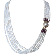 Vintage 6 Strand Cultured Freshwater Pearls Necklace With Garnets And Pearl Cabochon Clasp