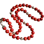 Vintage 1960's 14k Red Coral Necklace 9 mm Beads 20.5 Inches Length