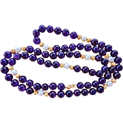 "Superb 14k Gold 9mm Amethyst Gems Cultured Pearl Necklace 34"" Length"