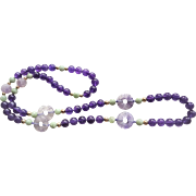 Hand Carved Chinese Amethyst Shou Apple Green Jadeite Necklace 34 Inches Length