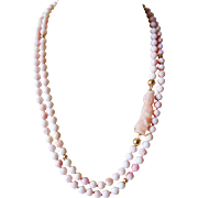 1980's Vintage 14k Gold Angel Skin Coral Kwan Yin Carved Coral Necklace