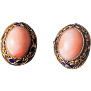 Chinese Export 1940's Sterling Gold Gilt Mesh Enamel Coral Earrings
