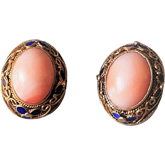 Chinese Export 1940's Sterling Gold Gilt Mesh Enamel Angel Skin Coral Earrings