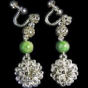 Vintage Chinese Apple Green Moss In Snow Jade Sterling Silver Filigree Earrings
