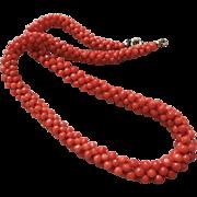 1890-1900 Antique Victorian Red Mediterranean Coral Necklace