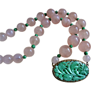 Chinese 1920's Art Deco 14k Carved Apple Green Jadeite Rose Quartz Necklace