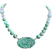 Chinese 1920's Art Deco Apple Green Moss In Snow Jadeite Necklace