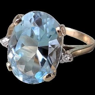 7.43 Ct. Vintage Aquamarine Diamonds 14k Yellow Gold Ring Size 7